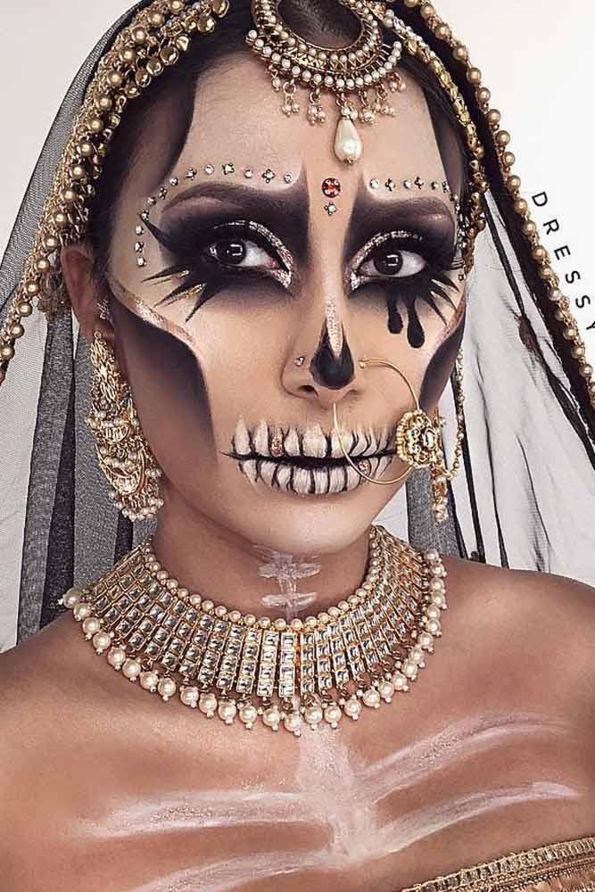 Indian Princess Skeleton Makeup #glitter #skeletonprincess
