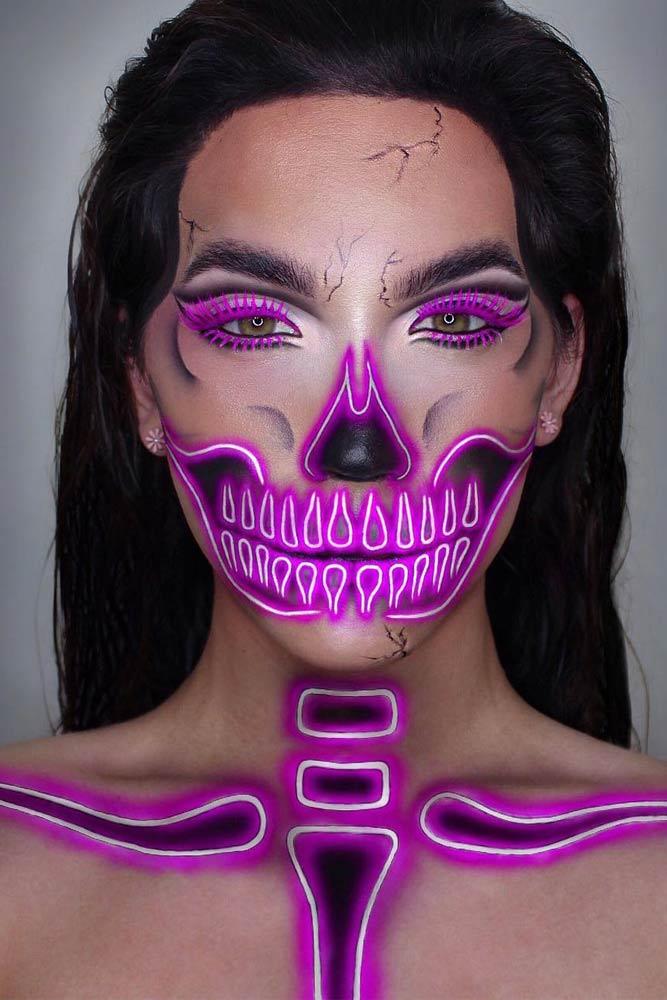 Purple Neon Skeleton Makeup #neonskeleton