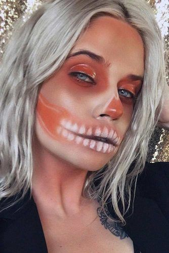 Glossy Peach Skeleton Makeup #peachskeleton