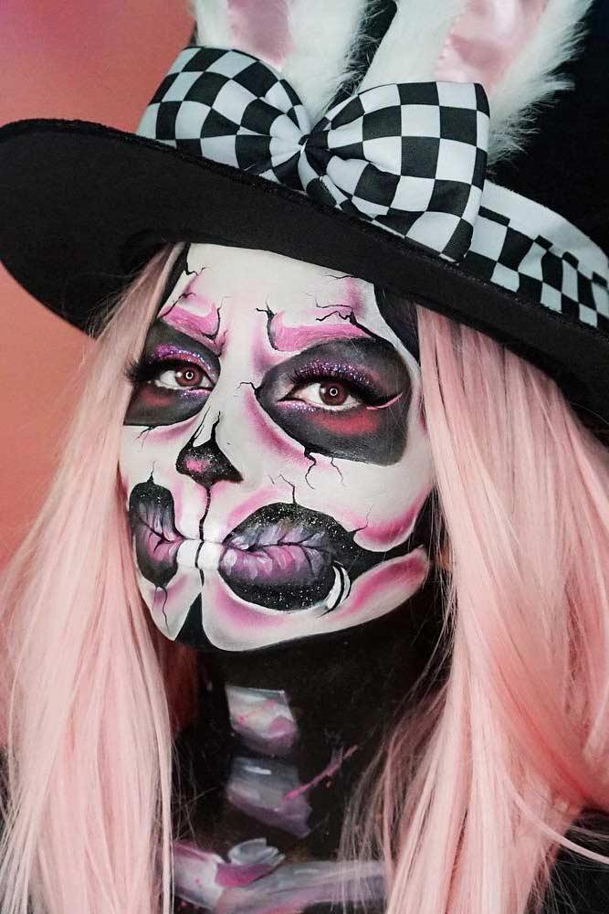 Bunny Skeleton Makeup Idea #bunny #glitterskeleton
