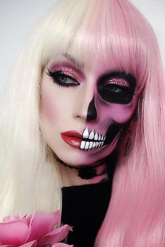 Half Face Pink Skeleton Makeup #pinkskeleton