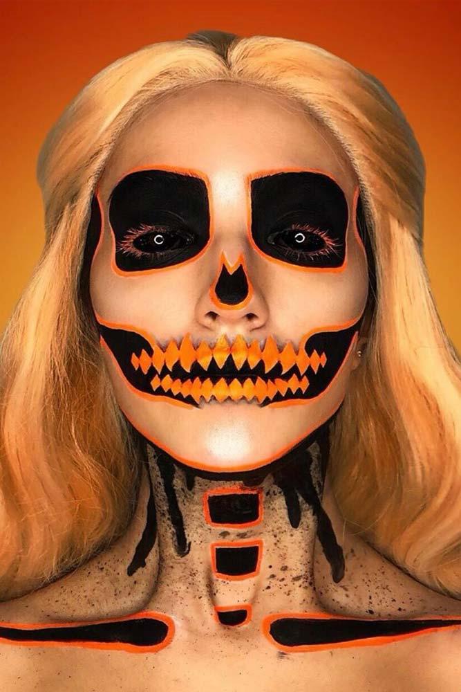 Orange Neon Skeleton Makeup Idea #pumpkinskeleton #neonskeleton