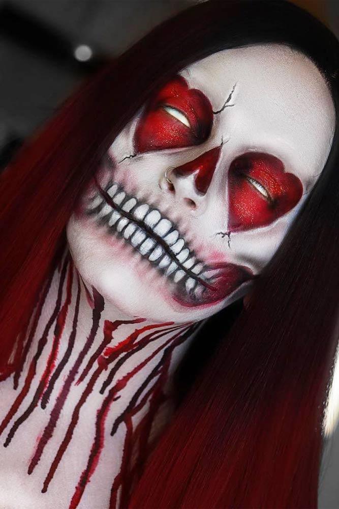 Heart Skeleton Makeup Idea #bloody #hearts #faceart
