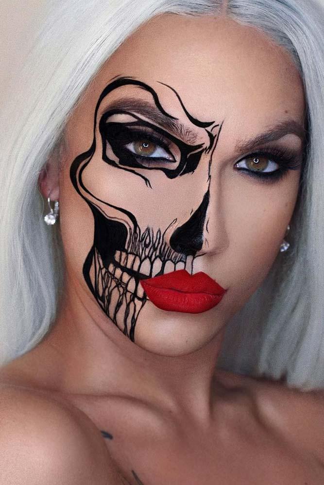 Half Face Skeleton Makeup Idea #halffacemakeup
