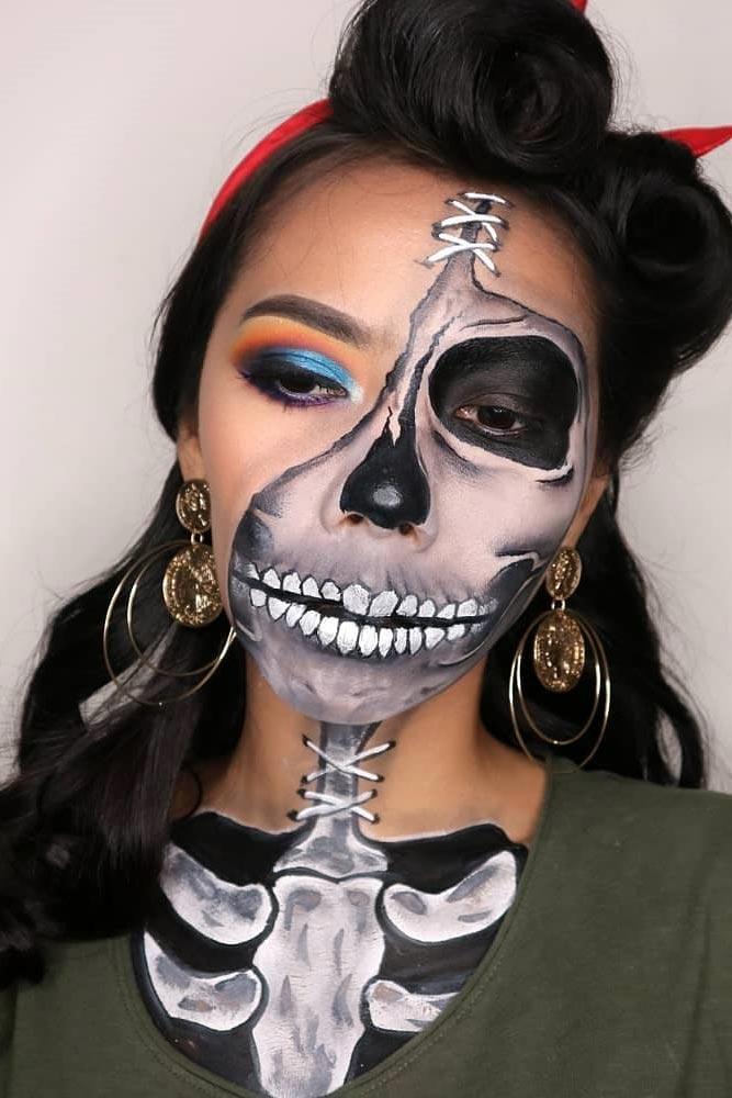Retro Skeleton Makeup Look #retromakeup #vintageskeleton