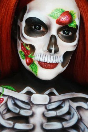 Berry Skeleton Makeup Idea #bones #bodyart