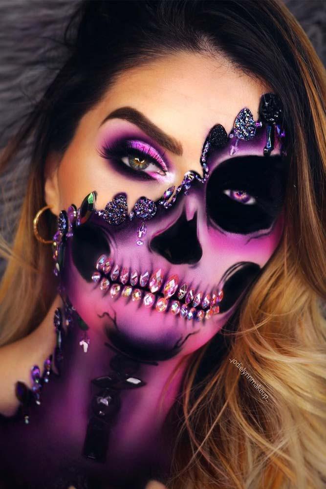 Glam Violet Skeleton Makeup #violetskeleton