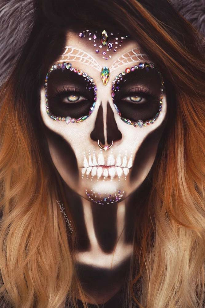 Classy Skeleton Makeup With Web Accent #web #sugarskull