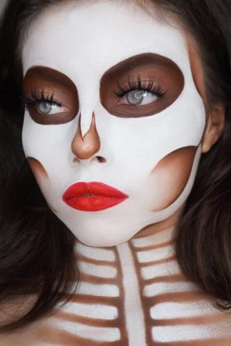 White Skeleton Makeup Idea #whiteskeleton #redlips