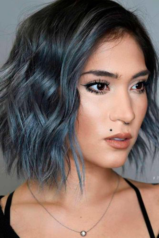 Ash Blue Wavy Bob #bluehair