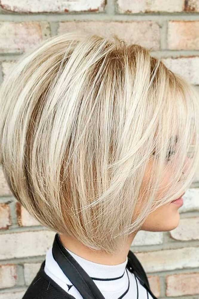 Rounded Bob With Long Bang #hairhiglights #blondehair