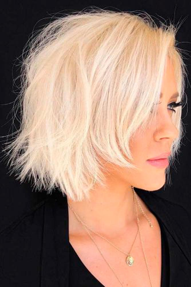 Choppy Blonde Bob With Edgy Ends #blondehair #shaggyhair