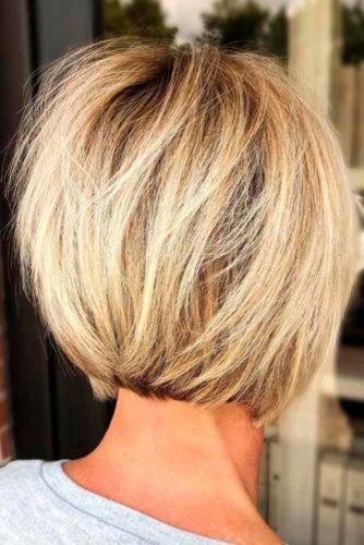 Tousled Inverted Bob With Highlights #blondehair #shorthair