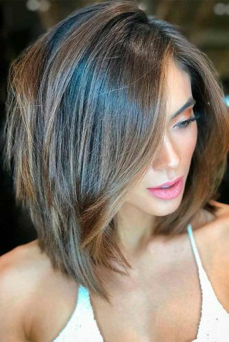 Textured Layers With Soft Highlights #brownhair #longbobhaircut#