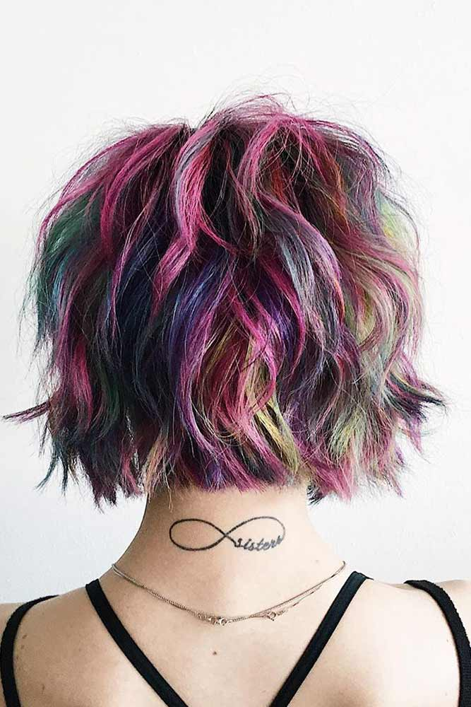 Shag With Colorful Highlights #shaggycut #coloredhair