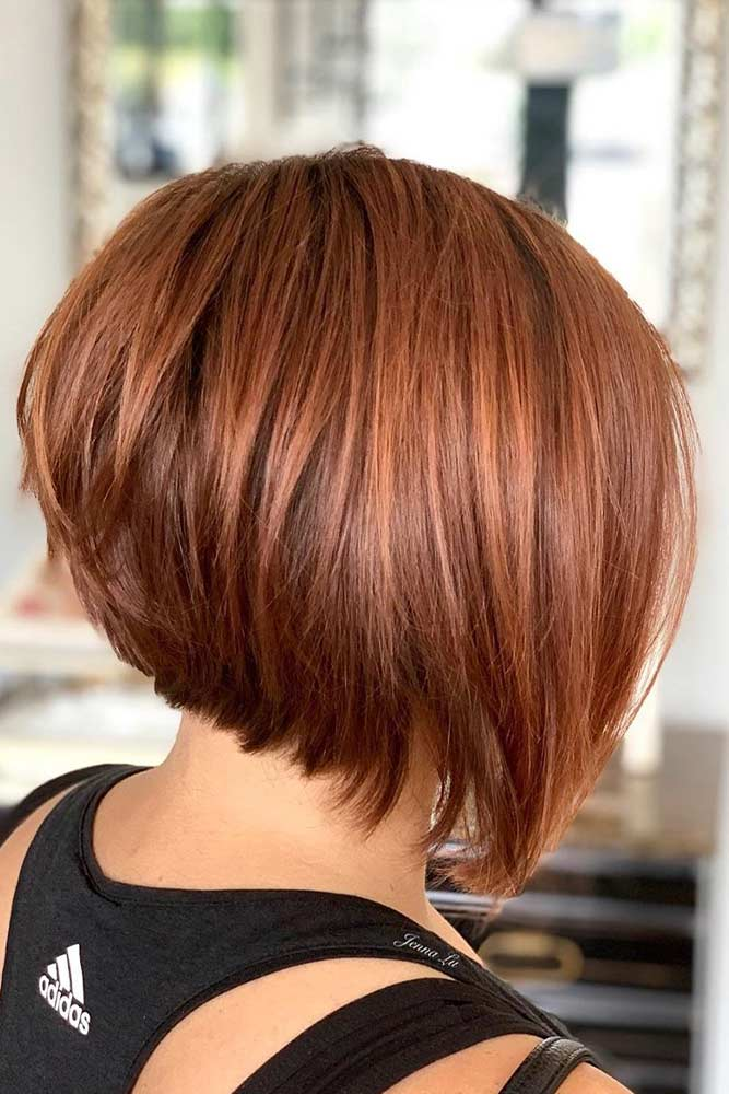 Feathered Inverted Bob #invertedbob #redhair