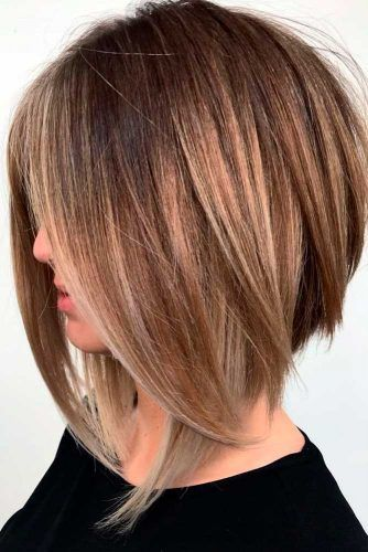 Inverted Long Bob With Swoopy Layers #brownhair #angledbob