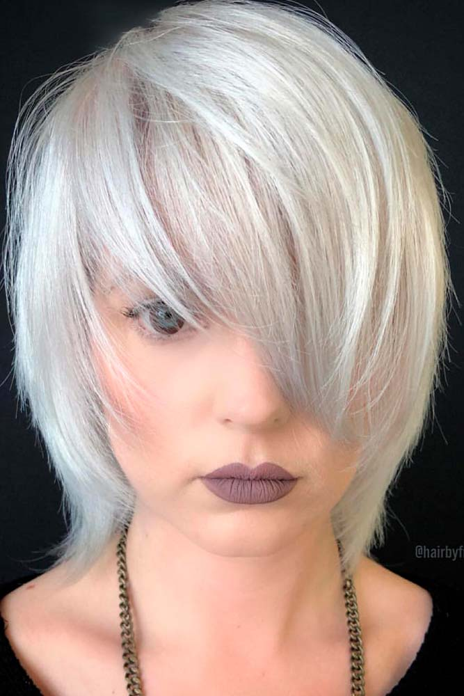 Medium Length Cascade Haircut #cascade #silverhair