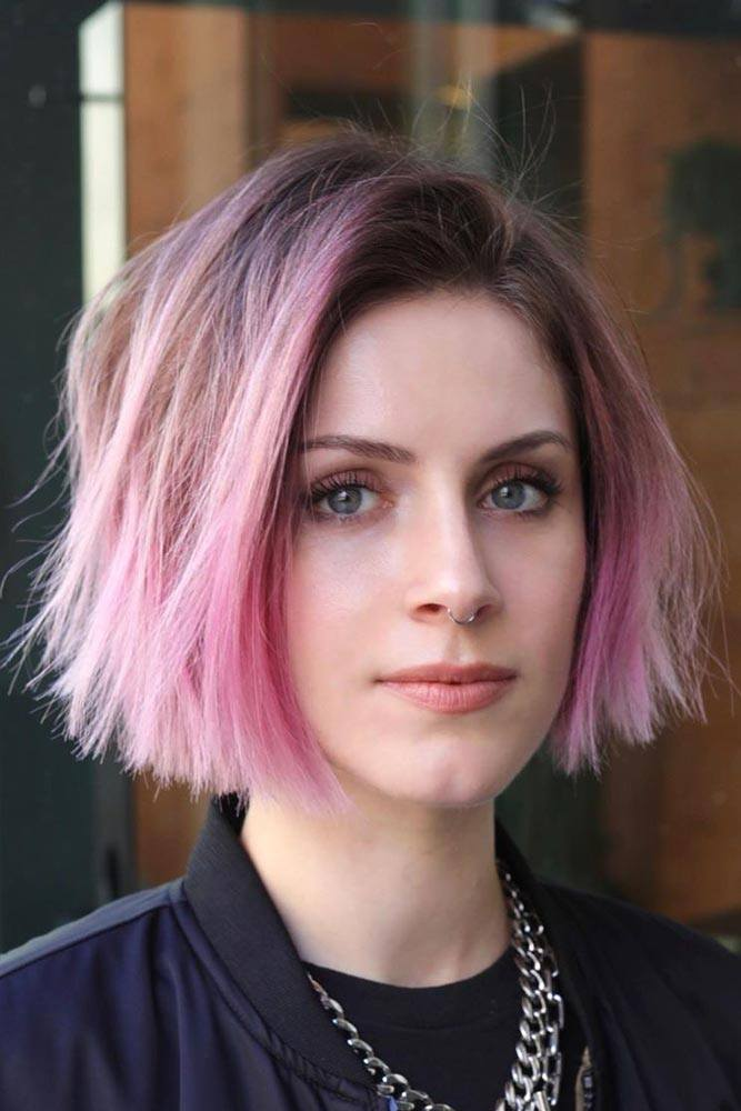 Cropped Layered Cut #pinkhair #ombrehair