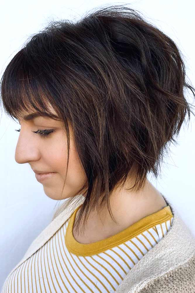 Razored Brown Bob With Bang #darkbrownbob #layers