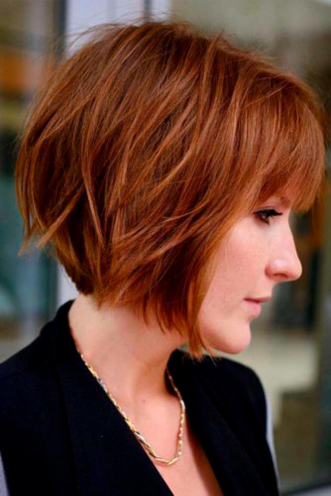 Warm Colored Short Bob #shorthairstyles #redhair