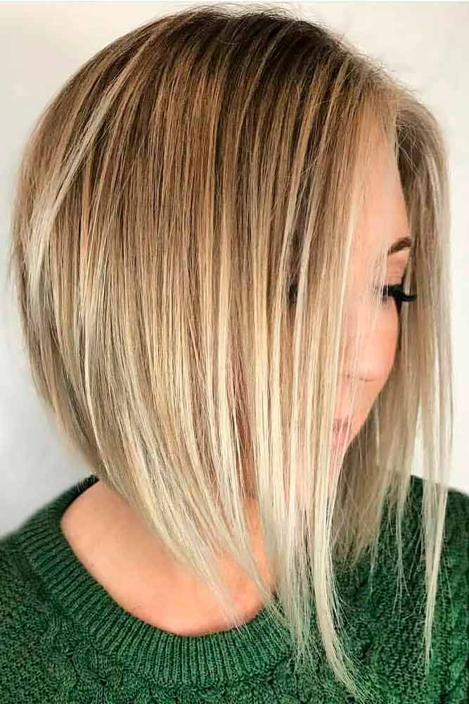 Angled Bob With V-Cut Layers #sleekhair #blondehair