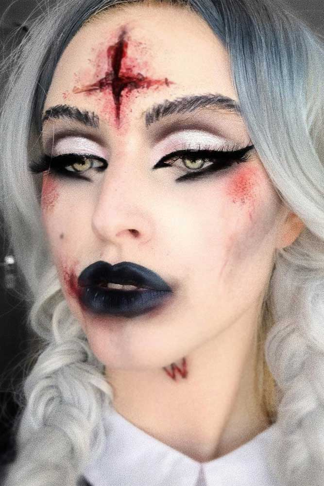 Vampire Makeup Idea With Blood Cross #blood #blacklips