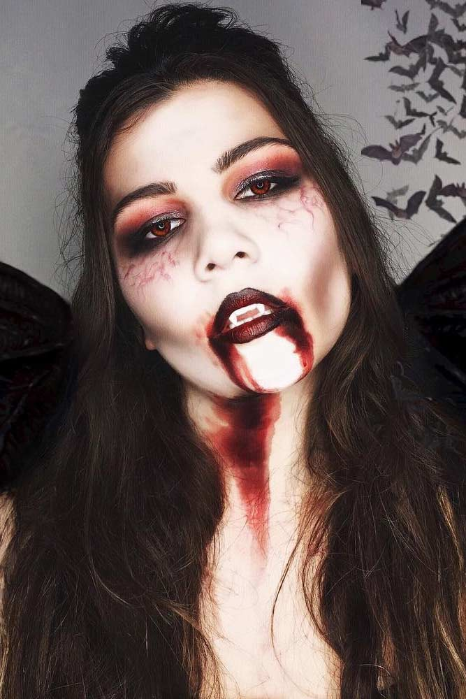 Blood Vampire Makeup Idea #bloodskin #darkredlips