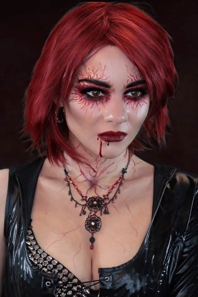 Scary Vampire Makeup With Blood Skin #bloodskin