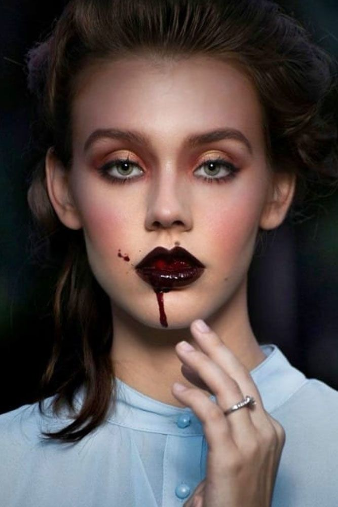 Pretty Vampire Makeup Idea #bloodylipgloss