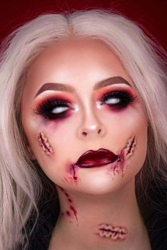 Vampire Makeup With 3D Cuts #cuts #smokey