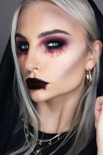 Dark Burgundy Vampire Makeup Idea #smokey #burgundylips