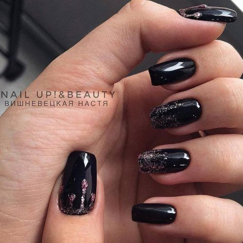Black Nails Design With Drops #glitterombre #glitterdrops