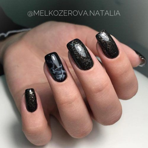 Black Glitter Nails With Marble Accent #marblenails