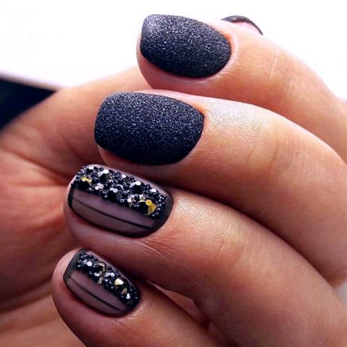 Sparkly Black Glitter Nails picture 4