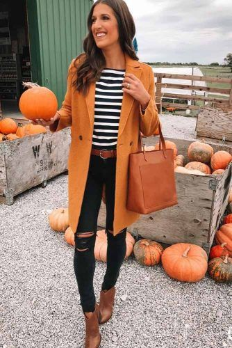 Black Jeans With Striped Top Outfit #coat #rippedjeans