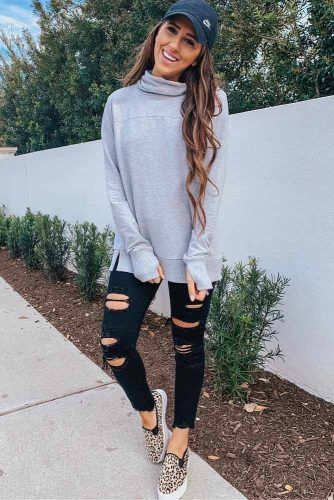 Black Ripped Jeans With Gray Sweatshirt #blackjeans