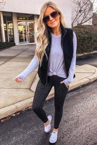 Sport Pants With Comfy Sweatshirt Outfit #vest #leggings