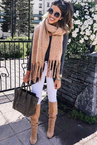 White Leggings With Gray Sweater Outfit #scarf #boots