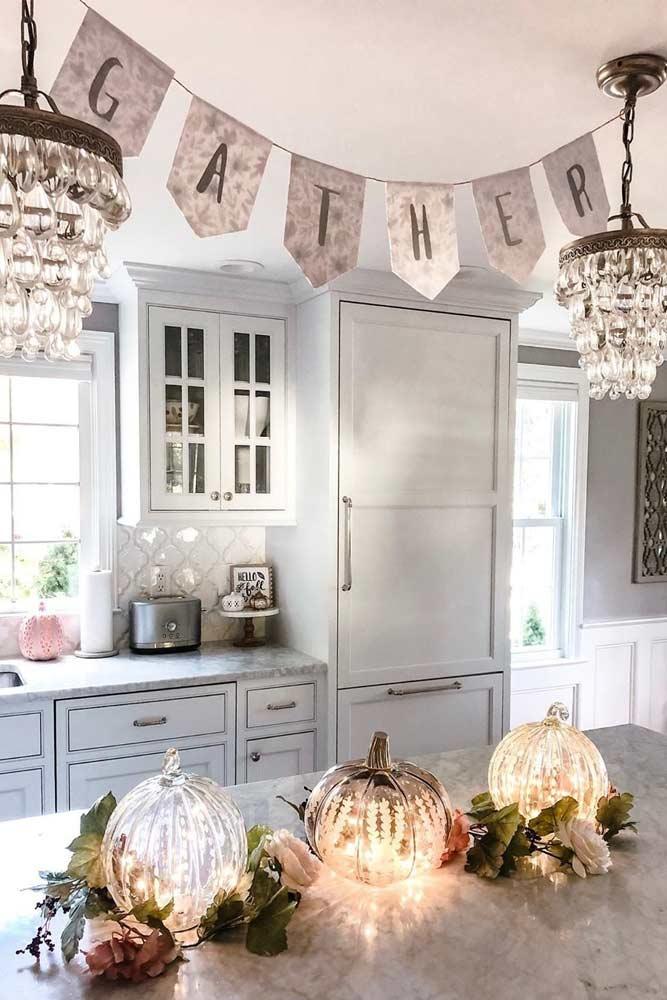 Kitchen Pumpkin Thanksgiving Decoration #lightpumpkin #banner
