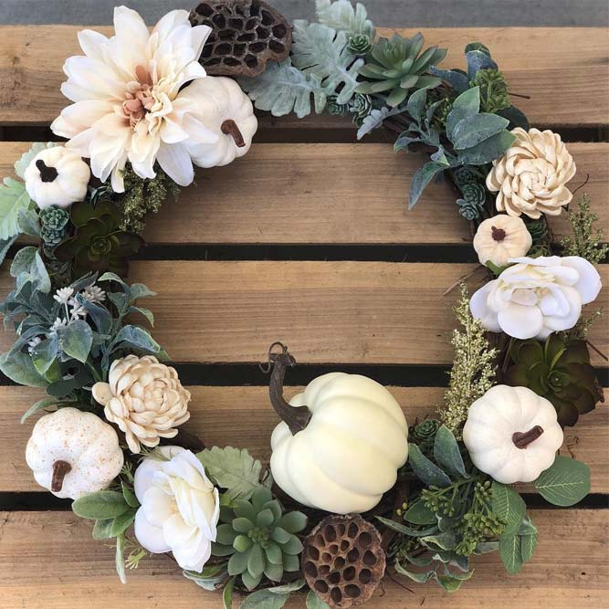 Fall Wreath With Pumkins And Flowers #flowers #pumpkins
