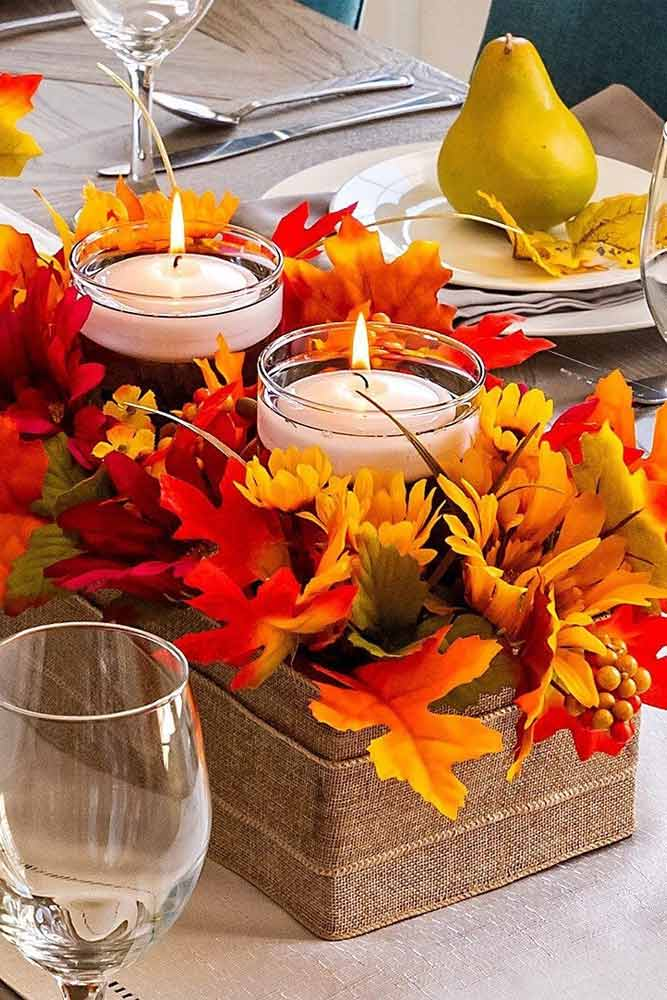 Fall Leaves With Candles Centerpiece Idea #centerpiece #candles