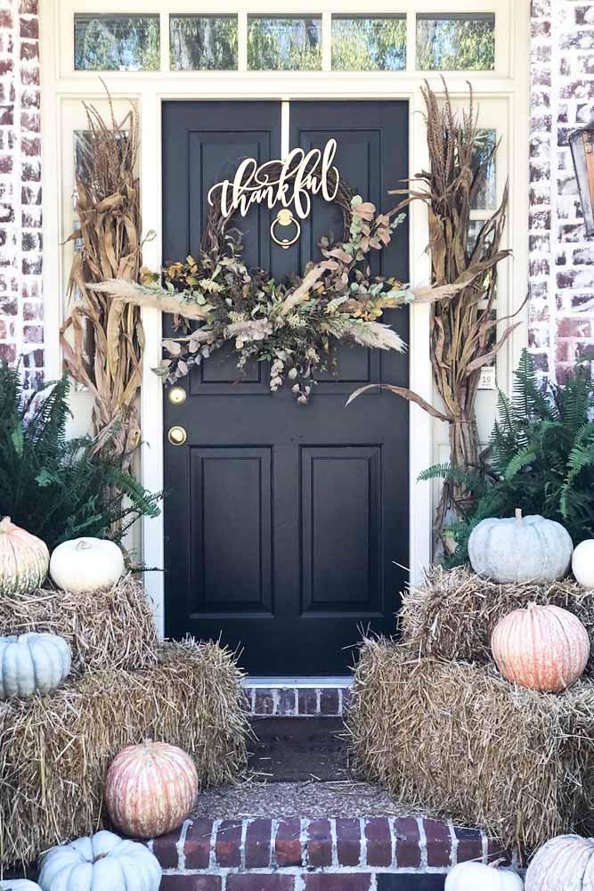 Thanksgiving Front Porch Decor #frontporch #doordecor