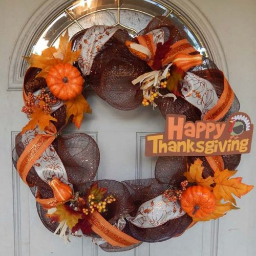 Thaksgivig Wreath With Pumkins And Ribbons #wreath #ribbons