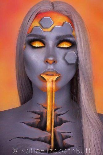 Cosmic Lava Fantasy Makeup #3dmakeup #bodyart