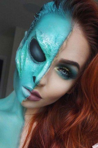 Alien Fantasy Makeup Idea #alienmakeup #halffacemakeup
