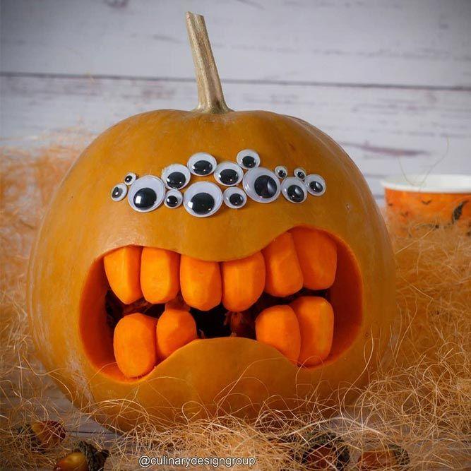 Monster Pumpkin Carving Idea #eyeballs