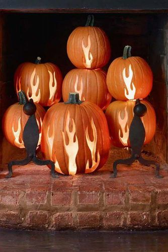 Fire Pumpkin Carving Idea #fireplacedecor