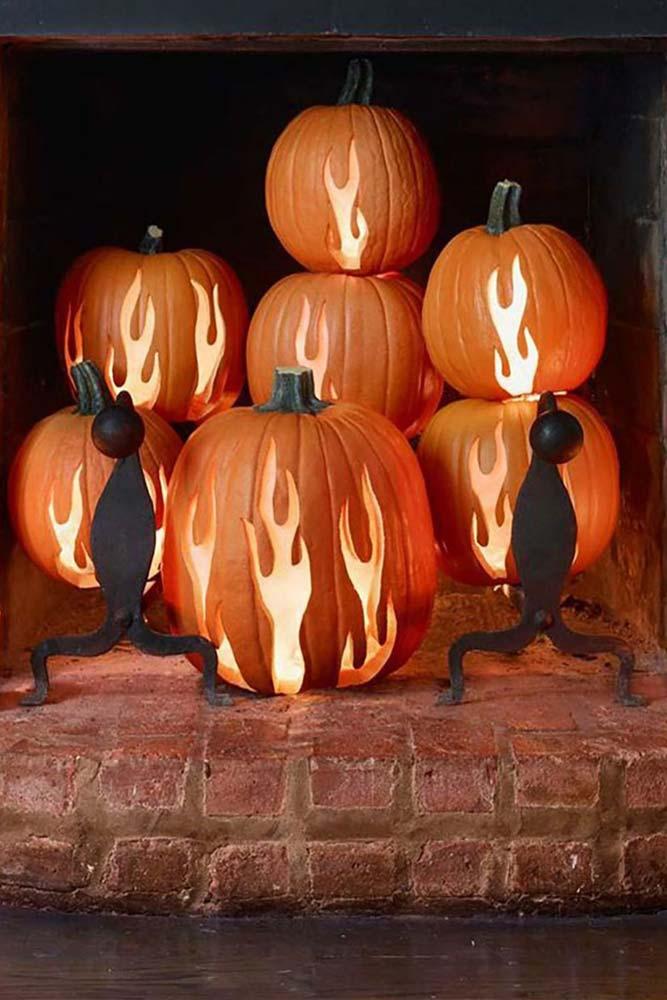 Fire Pumpkin Carving Idea #fireplacedecor