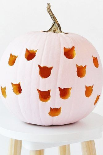 Cute Cats Pumpkin Carving Ideas #catcarving